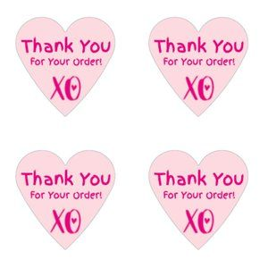 Other - Thank You Stickers 60 Heart Labels 1 1/2  Thank Yo